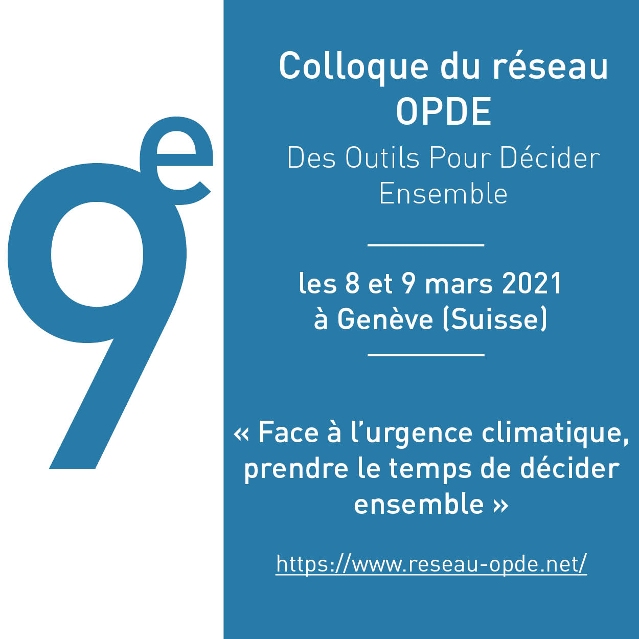 9ème colloque du réseau OPDE